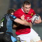 Tommy O'Donnell of Munster is tackled by Rory Hughes Photo: Paul Devlin / SPORTSFILE