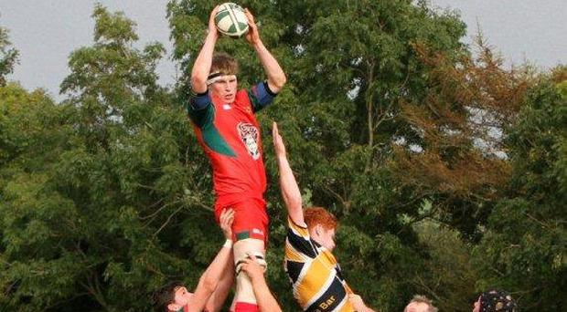 Clonakilty's club captain Olan Deane claims a lineout in his side's clash against Clanwillliam