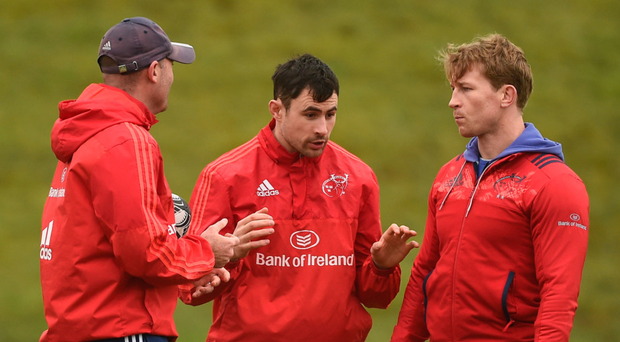 Munster coaches (l-r) Jacques Nienaber, Felix Jones and Jerry Flannery in conversation at training in UL. Photo: Diarmuid Greene/Sportsfile