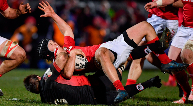 O'Donoghue: Tyler Bleyendaal, tackled here by Cornell Du Preez of Edinburgh, can keep his cool under pressure Photo by Ramsey Cardy/Sportsfile