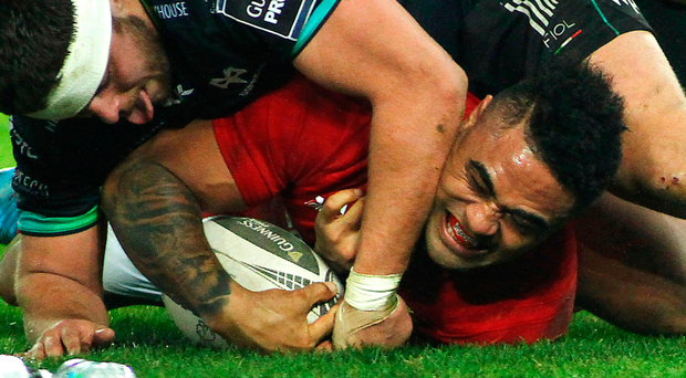 Despite trailing, Munster players recognised what they needed to do during the game in order to grind out victory against Ospreys with Francis Saili, above, scoring their second try. Photo: Sportsfile