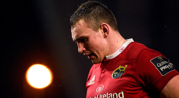 A dejected Tommy O'Donnell following defeat to Scarlets last weekend. Munster will hope to learn from the loss. Photo: Sportsfile
