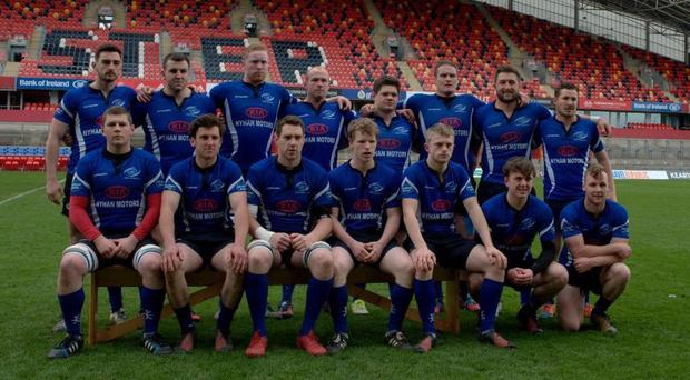 The victorious Bandon side who claimed the Munster Junior Cup for the first time in the club's history with a 27-14 victory over Young Munster at Thomond Park last Sunday