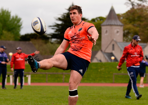 Ian Keatley practices his kicking during training