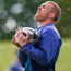 Keith Earls battles a shower of hailstones. Photo: Sportsfile
