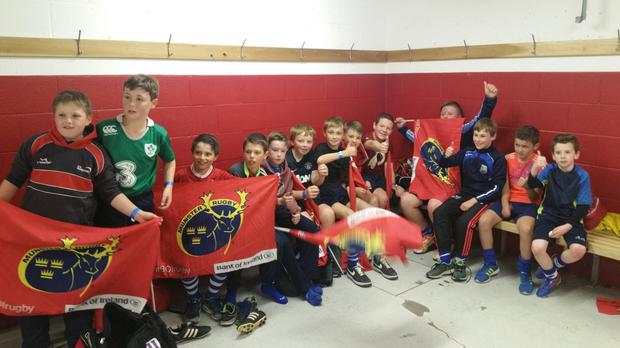 Dungarvan U-11s enjoy some time in the hallowed Thomond Park dressing-rooms