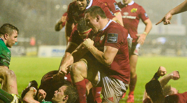 Connacht provided a tough test for Munster at the Sportsground back in December and here Tommy O'Donnell celebrates with his Munster team-mates after Rhys Marshall scored their side's opening try – tomorrow, the team will be looking for a repeat of last season's win at Thomond Park