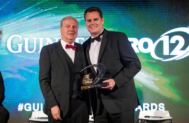 Rassie Erasmus pictured with TG4 director-general Alan Esslemon after being presented with the Guinness PRO12 Coach of the Season award. Photo: ©INPHO/Ryan Byrne