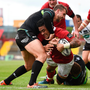Francis Saili going over for Munster's first try against Ospreys at Thomond Park last Saturday. Photo: Sportsfile
