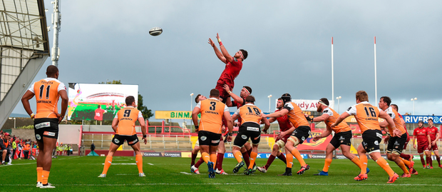 Munster's Jean Kleyn wins possession in the line-out against the Cheetahs at Thomond Park last Saturday – the South Africans made it very hard to win clean ball. Photo: Sportsfile