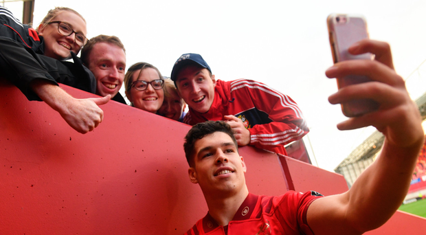 Last week's man of the match Alex Wootton poses for a selfie after his four tries helped defeat the Cheetahs at Thomond Park. Photo: Diarmuid Greene/Sportsfile