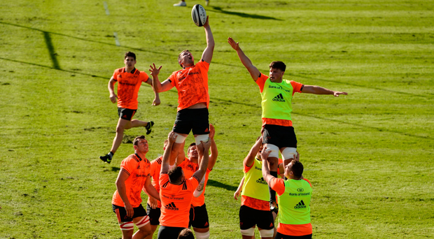 O'Mahony wins possession in a line-out ahead of team-mate Fineen Wycherley. Photo: Sportsfile