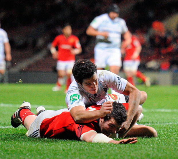 Peter O'Mahony scores a try against Castres in 2011. O'Mahony has been telling the newer members of the Munster squad about their last game in the southern French town, which was won with a late Ronan O'Gara drop goal Photo: Diarmuid Greene / SPORTSFILE