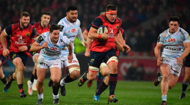 CJ Stander in action for Munster during their victory over Racing at Thomond Park last season. Picture: Sportsfile