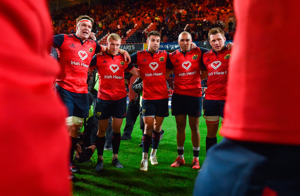 Munster players Billy Holland, Keith Earls, Conor Murray, Simon Zebo, and CJ Stander in a huddle after the European Rugby Champions Cup Pool 4 Round 2 match between Munster and Racing 92 at Thomond Park in Limerick. Photo by Diarmuid Greene/Sportsfile