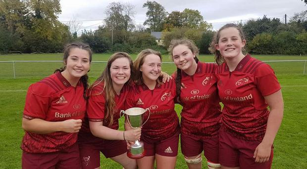 Bantry Bay RFC members Andrea Stock, Mary Hilda Hurley, Enya Breen, Rebecca Hayes and Caroline Downey who were part of the Munster U-18 girls team