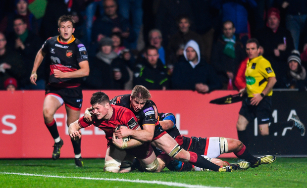 Jack O'Donoghue of Munster scores his side's third try against the Dragons. Picture: Sportsfile