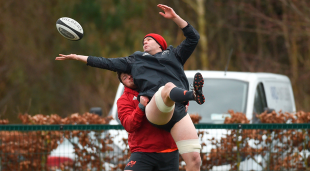 Billy Holland being lifted by Liam O'Connor in training Photo: Diarmuid Greene/Sportsfile