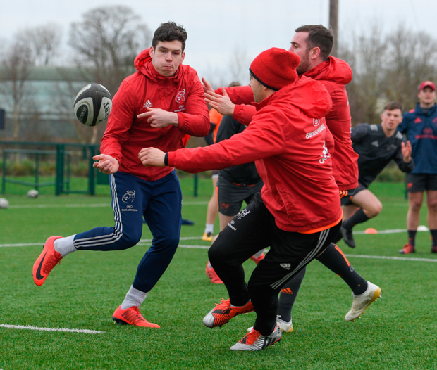 Alex Wootton in action against James Hart and JJ Hanrahan during training in Limerick Photo: Sportsfile
