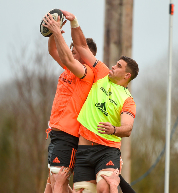 Gerbrandt Grobler and Sean McCarthy vie for possession in a lineout. Photo: Sportsfile