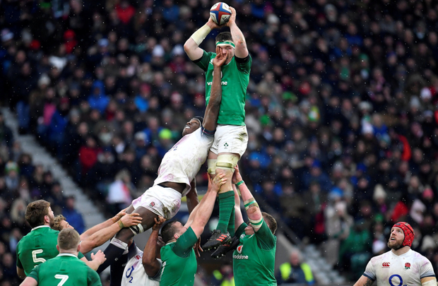 Peter O'Mahony in action during Ireland's victory against England. Photo: Reuters