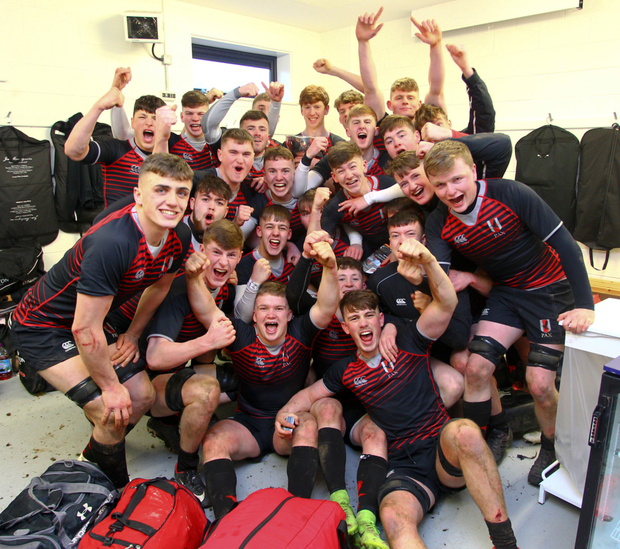 Glenstal Abbey players celebrate their Munster Schools Senior Cup win. Photo: INPHO