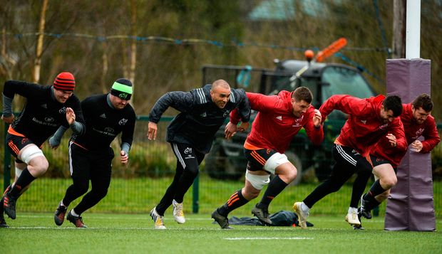 Peter O'Mahony, Dave Kilcoyne, Simon Zebo, CJ Stander, Conor Murray and Mike Sherry hard at work. Photo: Diarmuid Greene/Sportsfile