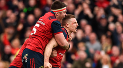 Andrew Conway celebrating with Billy Holland after scoring Munster's second try against Toulon in April. Picture: BRENDAN MORAN/SPORTSFILE