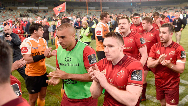 Munster players leave the pitch after victory over the Toyota Cheetahs. Photo: Sportsfile