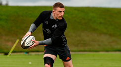 Andrew Conway going through his paces at training this week. Photo: Sportsfile
