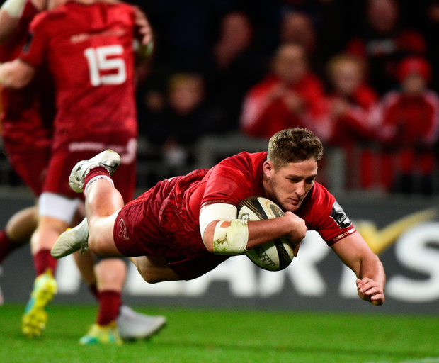 Dan Goggin going over for the first try against Ulster
