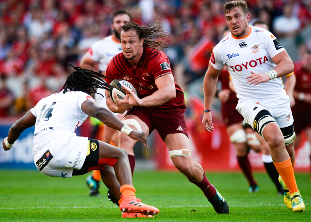 Arno Botha on the charge against the Toyota Cheetahs last month, during a stunning 80-minute performance by Munster's new No 8