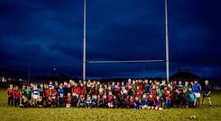 Ronan O'Gara at a special coaching session with the Fethard and District Minis