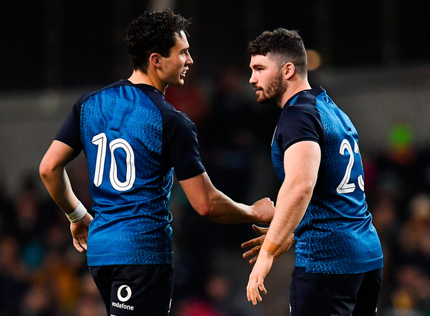 Sammy Arnold on his Ireland debut with Joey Carbery. Photo: SPORTSFILE