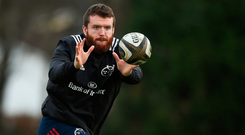 Mike Sherry keeps his eye on the ball at training. Photo: SPORTSFILE