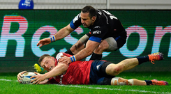 Andrew Conway scores the try which was subsequently disallowed. Photo: Brendan Moran/Sportsfile