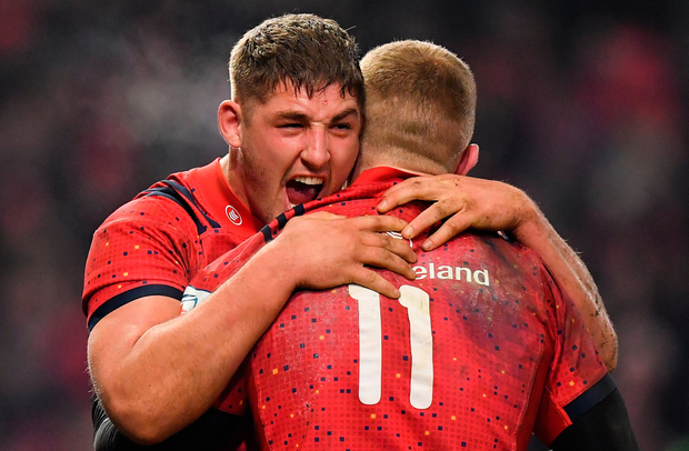Red Star: Dan Goggin celebrates victory over Exeter Chiefs with Keith Earls. Photo: Sportsfile