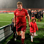 Stephen Archer leaves the field with his son Casey and daughter Alex after last week's Southern Kings clash. Photo: Sportsfile