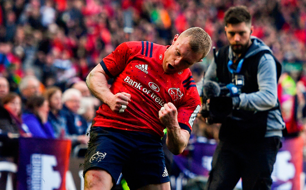 Flight of the Earls: Keith Earls celebrates after scoring Munter's second try against Saracens. Photo: Brendan Moran/Sportsfile