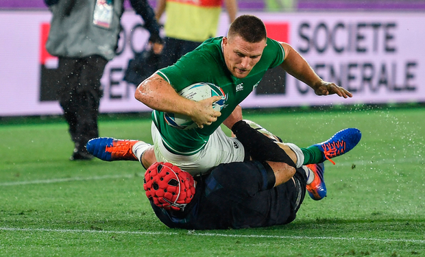 Munster make their mark on the World: Andew Conway touches down for Ireland against Scotland. Photo: SPORTSFILE