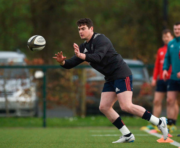 Ronan O'Mahony training with Munster in February. Photo: Sportsfile