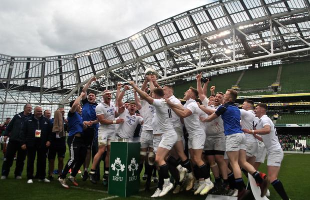Cork Con lift the All-Ireland Division 1A trophy