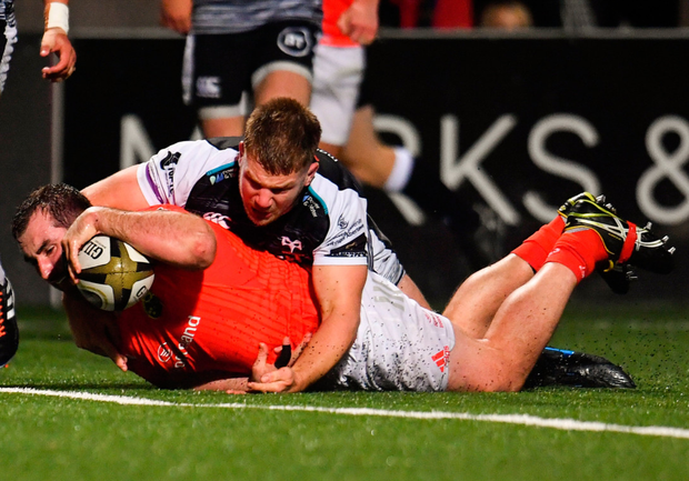 James Cronin in relaxed mood at training and going over to score his side's first try despite the tackle by Ospreys' Olly Cracknell at Irish Independent. Photo: Sportsfile