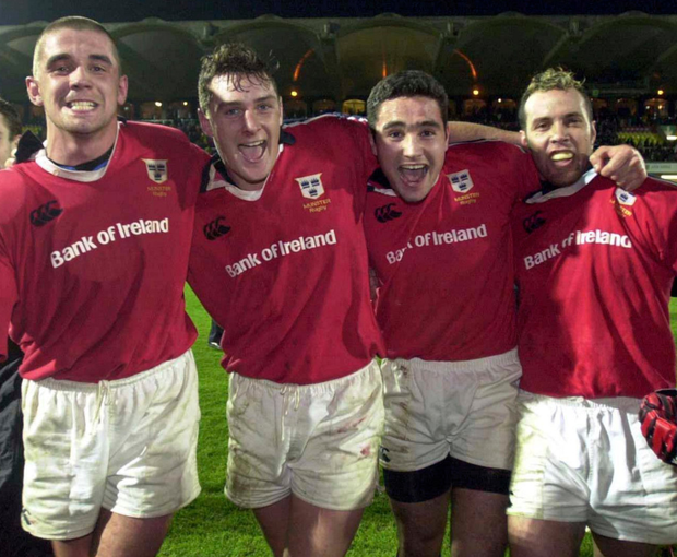 Munster players, from left, Alan Quinlan, David Wallace, Jeremy Staunton and Mike Mullins celebrate a dramatic win over over Saracens at Vicarage Road in 1999. Photo: Sportsfile