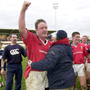 Then Munster captain Mick Galwey celebrates victory over Colomiers in 1999. Photo: Sportsfile