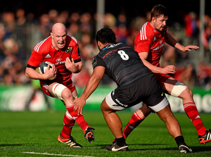 Munster's Paul O'Connell on the charge against Billy Vunipola of Saracens last weekend