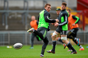 Munster's Andrew Conway shows his ball skills in training at Thomond Park DIARMUID GREENE/SPORTSFILE