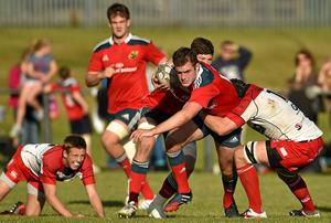 Niall Kenneally, Munster A, is tackled by Charley Thomas, Moseley during a British & Irish Cup Round 1 match in November