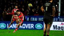 James Hook of Gloucester kicks the winning penalty with the last kick of the game during the Aviva Premiership match between Gloucester Rugby and Saracens