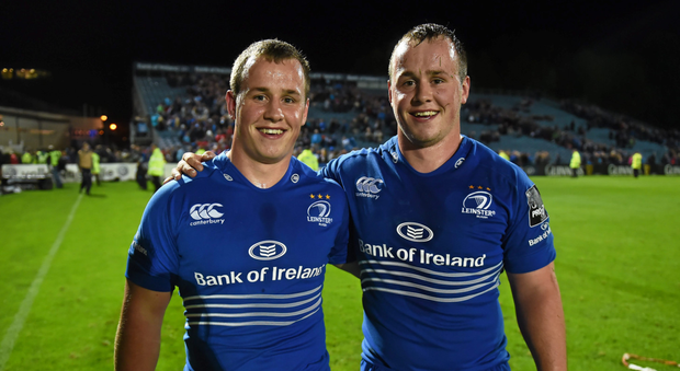 Ed Byrne (R) with his twin brother Bryan after the game against Cardiff in September 2014 (SPORTSFILE)